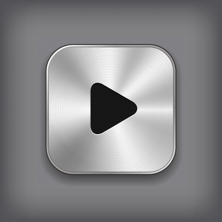 metal button: Play - media player icon - vector metal app button Illustration