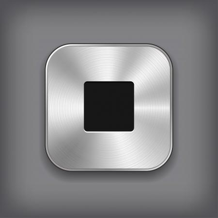 Stop - media player icon - vector metal app button Illustration