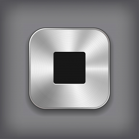 stop button: Stop - media player icon - vector metal app button Illustration