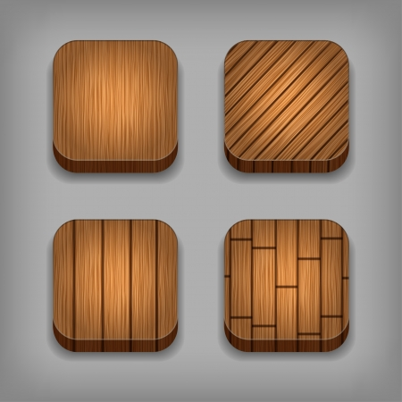 Set of wood background for the app icons Vector