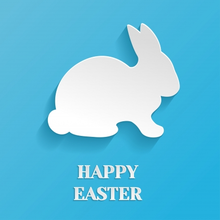 bunny cartoon: Happy Easter Illustration - White Rabbit Bunny on Blue Background