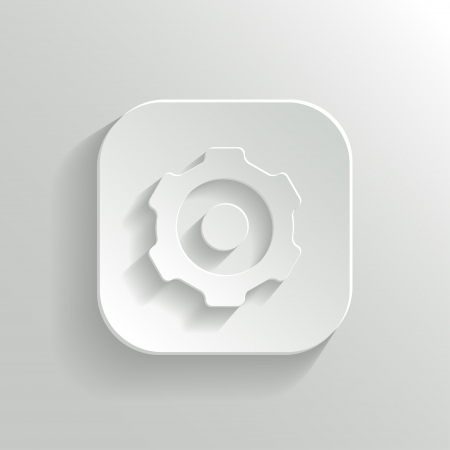 gearwheel: Gear icon - vector white app button Illustration