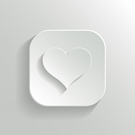 favorite: Heart icon - vector white app button with shadow Illustration