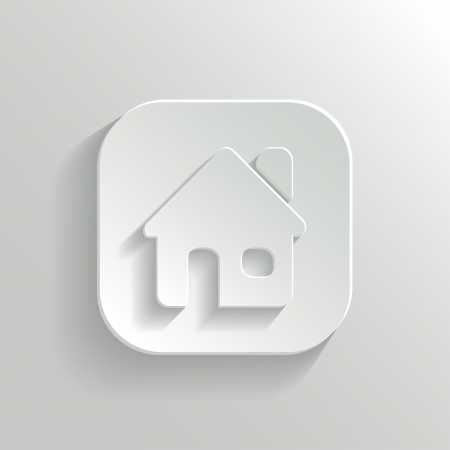 Home icon - vector white app button with shadow Vector