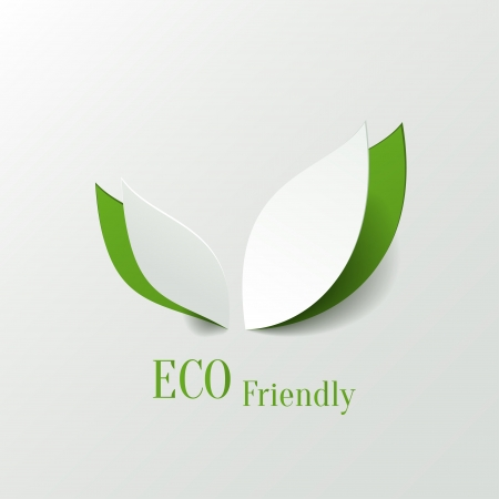 eco icon: Green eco friendly background - abstract paper leaves Illustration