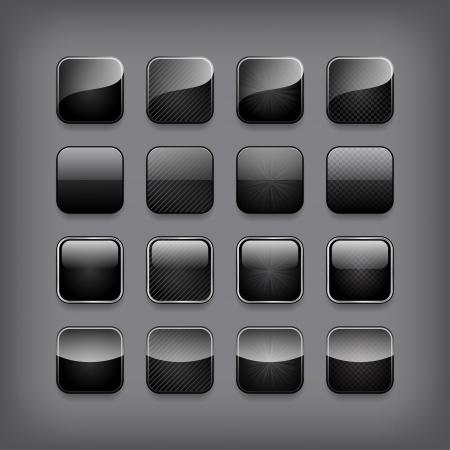 Set of blank black buttons for you designor app. Vector
