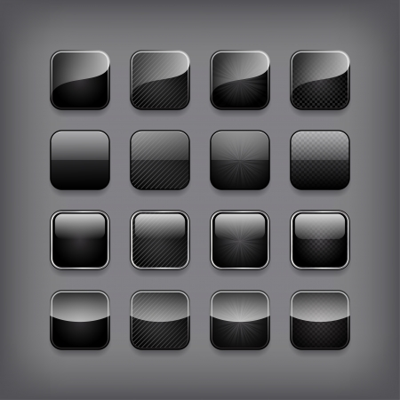 interface elements: Set of blank black buttons for you designor app.