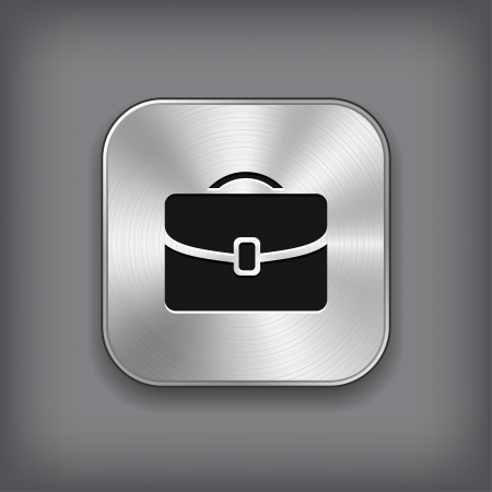 suit case: Case icon - vector metal app button