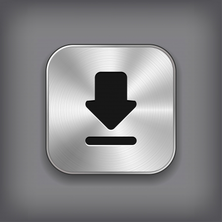 downloading: Download icon - vector metal app button Illustration