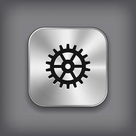 Gear icon - vector metal app button Stock Vector - 18797916