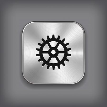 Gear icon - vector metal app button Stock Vector - 18797916