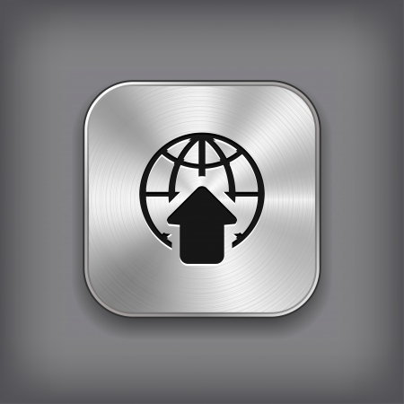 interface elements: Global icon - vector metal app button