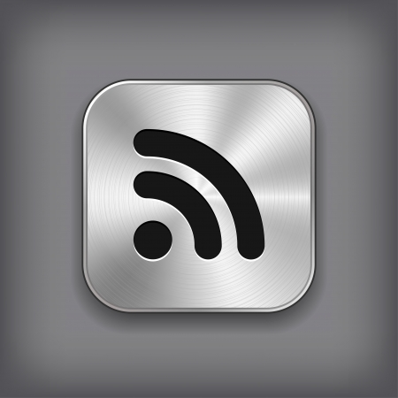 rss feed icon: RSS icon - vector metal app button