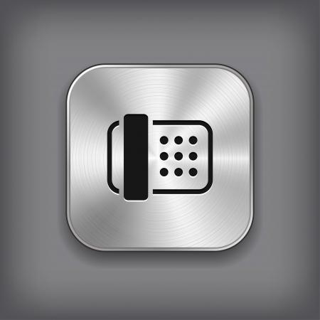 icono fax: Fax icono - vector met�lico App bot�n