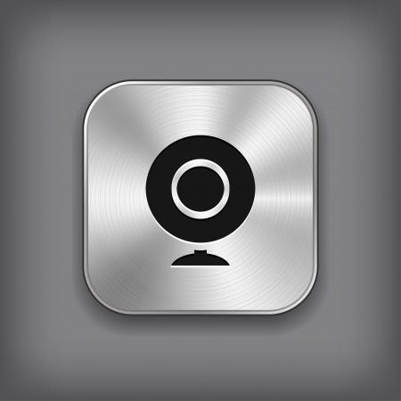 webcamera: Webcamera icon - vector metal app button