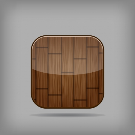 Vector glossy wooden app button Stock Vector - 18797913