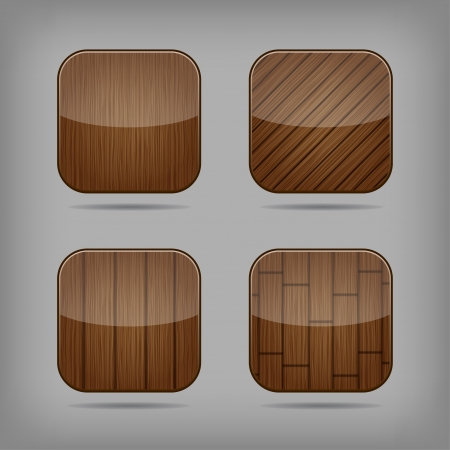 Vector glossy wooden app buttons set Stock Vector - 18797864