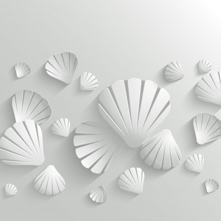 Abstract vector background with white seashells Vector