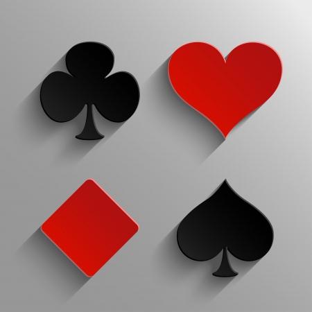 playing card symbols: Conjunto de elementos de casino - juego de tarjetas de s�mbolos iconos