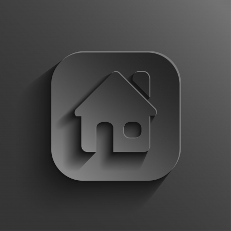 Home icon - vector black app button with shadow Illustration