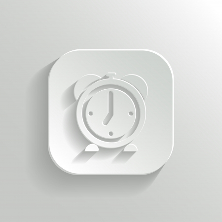 Alarm clock icon - vector white app button with shadow Stock Vector - 19146187