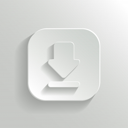 Download icon - vector white app button with shadow Vector