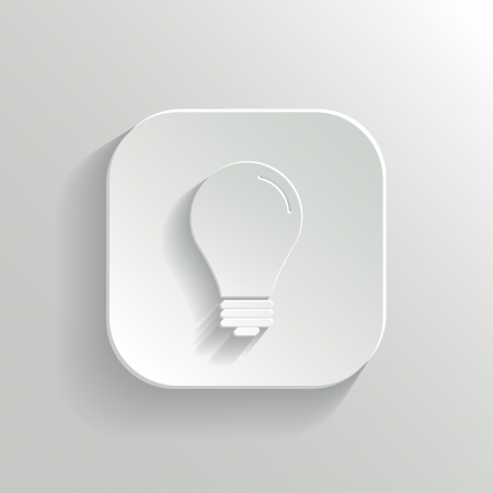 Light bulb icon - vector white app button with shadow Stock Vector - 19146134