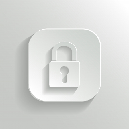 secret privacy: Lock icon - vector white app button with shadow