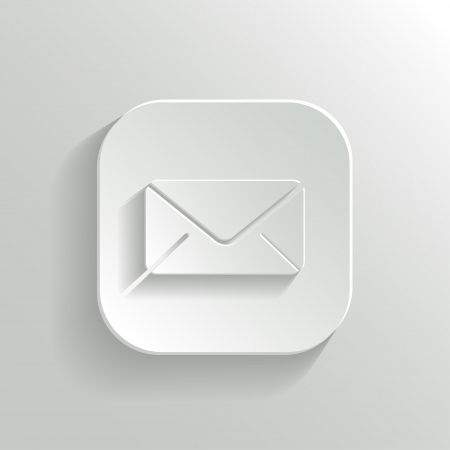 Mail icon - vector white app button with shadow Stock Vector - 19146130