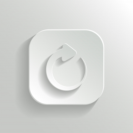 Media player icon - vector white app button with shadow Vector
