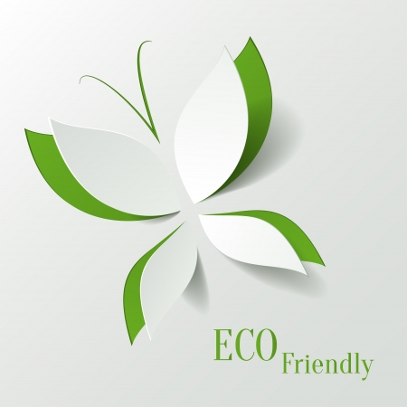 Eco concept - green butterfly cut the paper like leaves - abstract background Ilustracja