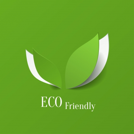 paper origami: Green eco friendly background - abstract paper leaves Illustration