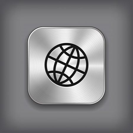 Global icon - vector metal app button