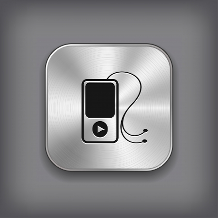 mp3 player: MP3 player icon - vector metal app button