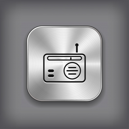 Radio icon - vector metal app button Vector