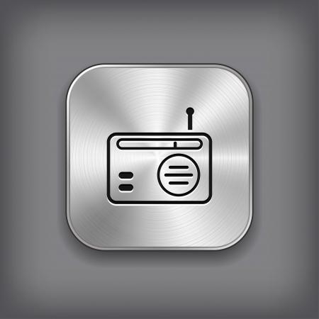 Radio icon - vector metal app button Stock Vector - 19146204