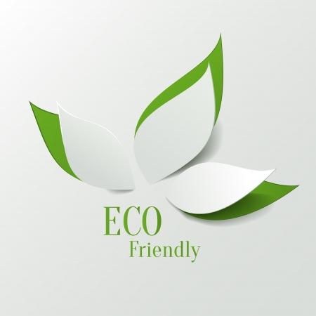 icono ecologico: Verde respetuoso del medio ambiente de fondo - hojas de papel abstractos