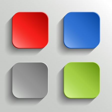 square button: Set of Colorful Buttons