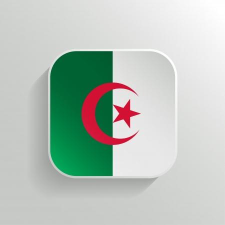 algeria: Vector Button - Algeria Flag Icon on White Background Illustration