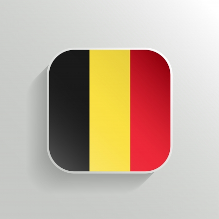 belgium flag: Vector Button - Belgium Flag Icon on White Background