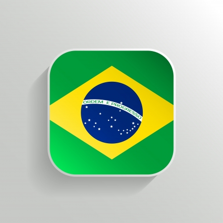 brazilian flag: Vector Button - Brazil Flag Icon on White Background