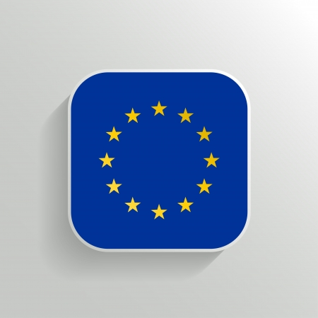 Vector Button - Europe Flag Icon on White Background Vector