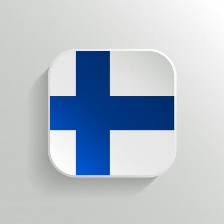 bandera de finlandia: Vector Button - Finlandia Icono de la bandera en el fondo blanco
