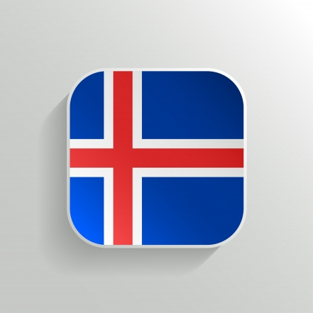 Vector Button - Iceland Flag Icon on White Background Vector