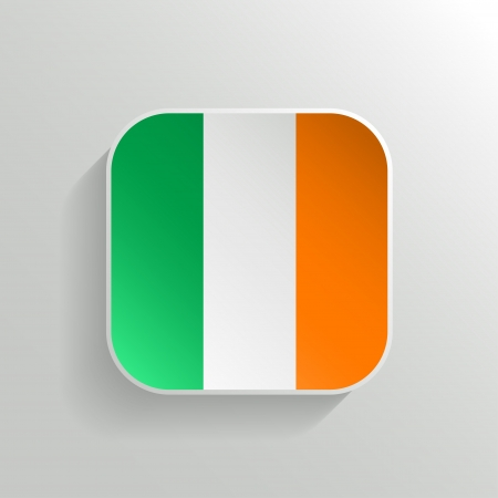 Vector Button - Ireland Flag Icon on White Background Vector