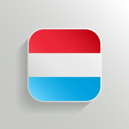 Vector Button - Luxembourg Flag Icon on White Background Vector