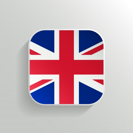 Vector Button -  United Kingdom Flag Icon on White Background Vector
