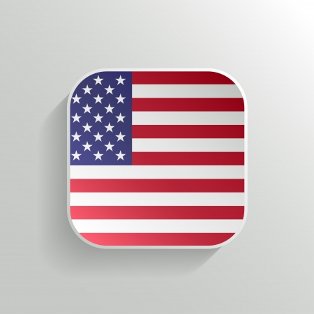 Vector Button - United States of America Flag Icon on White Background Vector