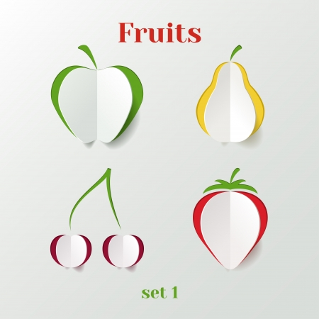 Set of fruits - creative paper icons Stock Vector - 20988942