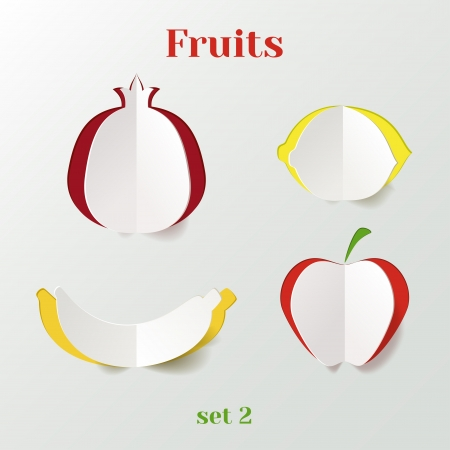 yellow apple: Set of fruits - creative paper icons Illustration